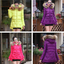 2015 Winter Women Coat Down Cotton Long Slim Hooded Fur Collar Coat Jacket Parka