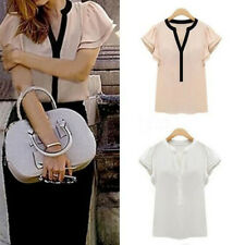 Casual Womens Sexy V Neck Short Sleeve Chiffon T-shirt Blouse Loose Tops S-XXL