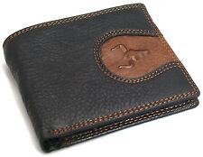 Men's Leather Wallet Zippered Pocket Credit Card ID Holders Purse-Bulls Mark