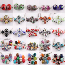 5-10 Murano Big Hole Lampwork Glass Loose Spacer Bead Charm  Bracelet DIY