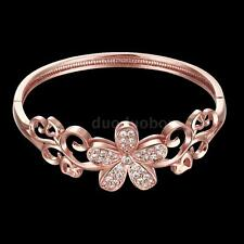18K Gold Plated Opening Bangle Bracelet Elegant Crystal CZ Flower Beautiful Gift