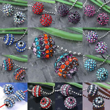 5pcs Crystal Rhinestone 10/12mm Round Ball Spacer Loose Beads For Jewelry Making