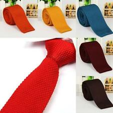 Multi Color Mens Narrow Slim Knit Tie Plain Necktie Square Tip Free Shipping HOT