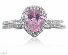 White Gold Pink Sapphire Pear Drop Cut Clear CZ Engagement Silver Ring Set