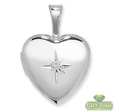 925 STERLING SILVER DIAMOND SET 12MM HEART LOCKET
