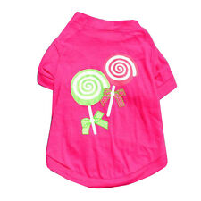 Cute Round Neck Lollipop Pattern Pet Clothes Cotton Dog Costume Rose Red