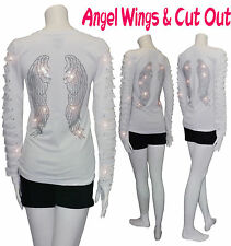 BLING ANGEL WINGS RHINESTONE,RIPPED SLIT CUT OUT LONG SLEEVE T SHIRT S/M/L White