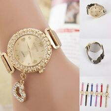 Women Stainless Steel Heart Pendant Crystal Dial Quartz Analog Wrist Watch