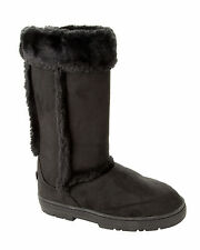 WOMENS BLACK FAUX FUR LINED THICK RUBBER SOLE MID CALF WINTER BOOTS LADIES 3-8