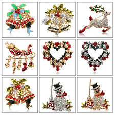 Crystal Rhinestone Jeweled Christmas Bell Snowman Deer Brooch Pin Clothes Decor