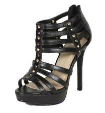 LINTER! Women's Strappy Studded Peep Toe High Heel Platform Sandals
