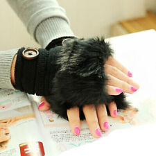 Women Warm Winter Gloves Faux Rabbit Fur Wrist Fingerless Working Gloves Mittens