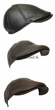 New Ivy Cap GENUINE Leather Bunnet Newsboy Beret Cabbie Gatsby Flat Golf Hat