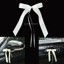6pcs IVORY/WHITE Ribbon PEW BOWS Party Christening Wedding Car Door Decorations