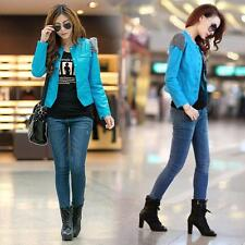 Women Korean Sweet PU Faux Leather Cropped Coat Patchwork Motorcycle Jacket D328