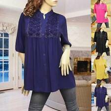 BLUE/YELLOW/BLACK/PINK EMBOSS FLOWER BUTTON UP CARDIGAN TUNIC TOP 1888 SIZE L/XL