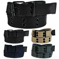 Kids Premium Double Row Grommet Studded Web Belt 2 Hole Canvas Fabric Boys Girls