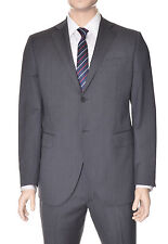Lubiam Studio Slim Fit Grey Textured Two Button Wool Suit Made in Italy