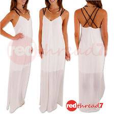 Summer Maxi Dress Sleeveless White Sheer Chiffon Side Splits Lined Long Boutique