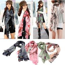 Womens Begonia Flower Scarf Neck Scarf Shawl Lady Cotton Wrap Stole Winter 6UJ3
