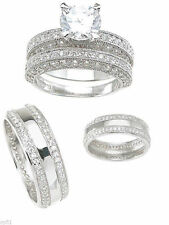 His Her Hers 3pc CZ Engagement Wedding Bridal Ring Band Set 925 Sterling Silver