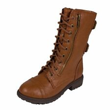 DOME2! Soda Kid's Girly Rounded Toed Lace Up Mid-Calf Combat Boots