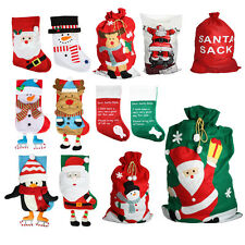 Christmas Xmas Stocking Sack Gift Decoration Santa Snowman Reindeer Pet Giant BN
