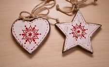 Shabby Chic Rustic Country Wooden Hanging Heart Star Christmas Tree Decorations