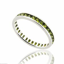 August Birthstone Ring - 925 Sterling Silver - Peridot CZ Eternity Band Ring NEW