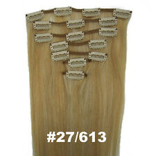 "Fashion  #27/613 15""-22"" 7PCS Clip In Remy Straight real Human Hair Extensions"