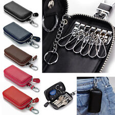 Genuine Leather Key Wallet 6+2 Car Key Ring Chain Holder Pouch With Clip