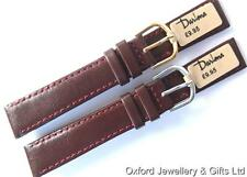 16mm DARLENA 1201 CLASSIC CALF LEATHER WATCH STRAP BURGUNDY. GOLD OR SILV BUCKLE