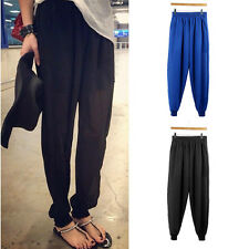 Fashion Women Chiffon Trousers Harem Casual Elastic Waist Loose Long Pants