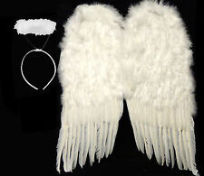 """Huge 36"""" Large White Feather Wings Angel Halo Halloween Costume 1 DAY SHIPPING"""