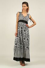 Kushi / Anmol Sleeveless Cotton BoHo Festival Maxi Dress BLACK / WHITE 10 & 14