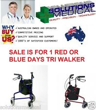 DAYS TRI WALKER 3 WHEEL WALKER MOBILITY AID RED BLUE