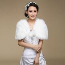2015 New Ivory Bridal shawl Faux Fur Wrap Shrug Jacket fashion Bolero Coat