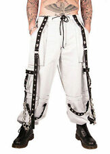 Tripp Nyc White Pyramid Bondage Pants Cargo Party Goth Skater Punk Rock S-2Xl