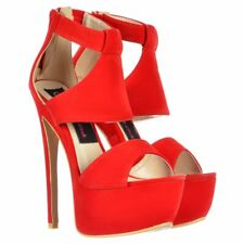 WOMENS PEEP TOE PLATFORM STILETTO HIGH HEEL CUT OUT PARTY PROM SHOE SANDAL SIZE