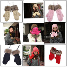 Lovely Women Ladies Girls Mitten Knitted Wool Fur Halter Wrist Winter Warm Glove