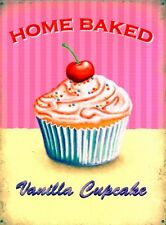 New Home Baked Vanilla Cupcake Metal Tin Sign