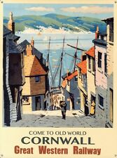 New Great Western Railway Advert Old World Cornwall Metal Sign