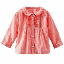 New OshKosh Peter Pan Collar Neon Pink Striped & Embroidered Top 12m 18m 24m