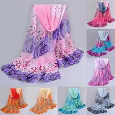 Autumn Women Chiffon Scarf Rose Print Soft Neck Wrap Shawl Beach Cover Up Shawl