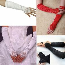 Women Bride Dress Costume Fingerless Long Gathered Beaded Party Wedding Gloves