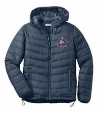 Cowgirl Up Rodeo Embroidered Ladies Hooded Puffer Jacket S M L XL 2XL Slate Gray