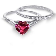 White Gold Heart Cut Ruby CZ 1.92 CT Eternity Wedding Engagement Silver Ring Set