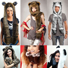 Fashion Unisex Women Men Faux Fur Long Scarf Pocket Hat Paws Beanies Gloves Cap