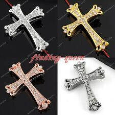 1x Side Ways Crystal Rhinestone Crown Cross Connector Charms Beads For Bracelet
