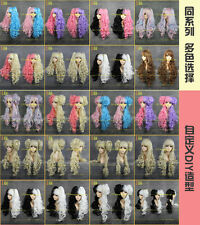 Hot Lolita Long Color Mixed Halloween Cosplay Party Curly Full Wig + 2 Ponytails